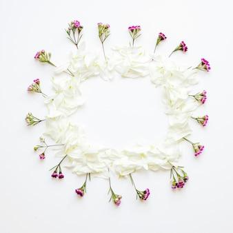 Borde de flores y pétalos