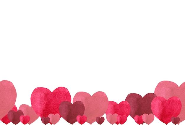 Borde inferior sin costuras para el día de san valentín de corazones de tonos rojos simples. ilustración acuarela
