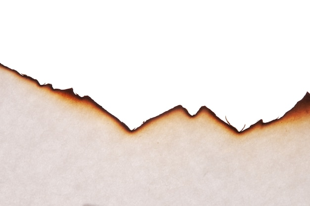 El borde del papel quemado está aislado sobre un fondo blanco. foto de alta calidad