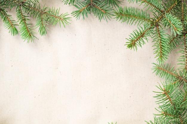 Borde de ramas de abeto sobre fondo rústico claro, bueno para navidad