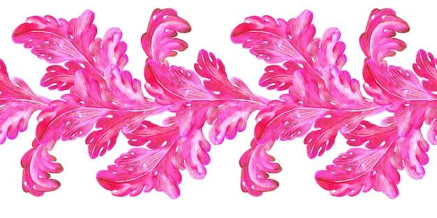 Borde transparente de acuarela hojas rosadas y doradas con rizos de una planta de fantasía