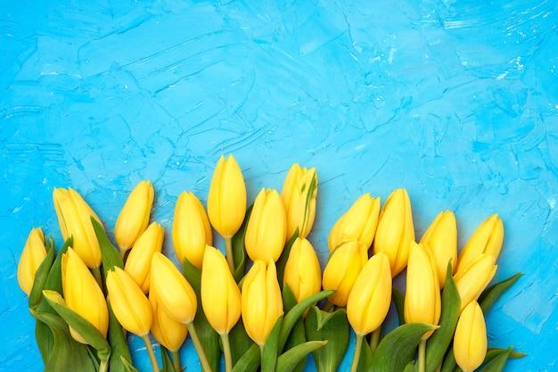 Borde de tulipanes amarillos en azul.