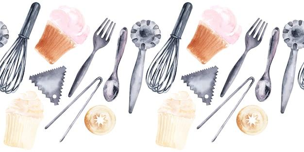 Bordes de acuarela con utensilios de cocina y dulces navideños