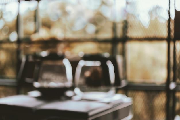 Borrosa de café y té en la mañana fresca