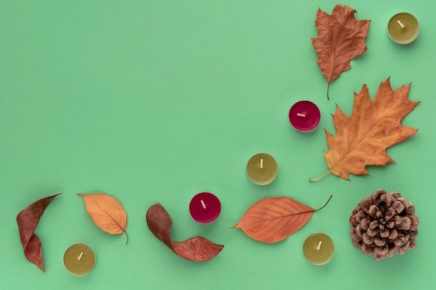 Bosque acogedor composición plana laico. marco de topetón, corteza, velas, hojas sobre fondo verde. otoño, concepto de bosque. copia espacio, vista superior.