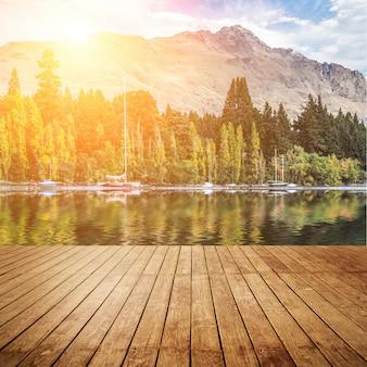 Bosque orilla naturaleza ola de madera