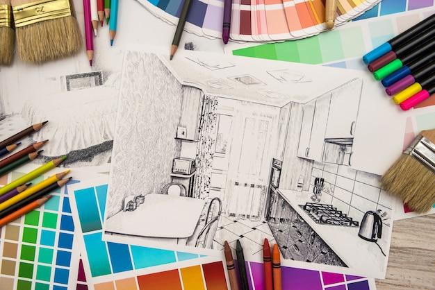 Bosquejo de apartamento de concepto de diseño de interiores con paleta de colores y herramientas