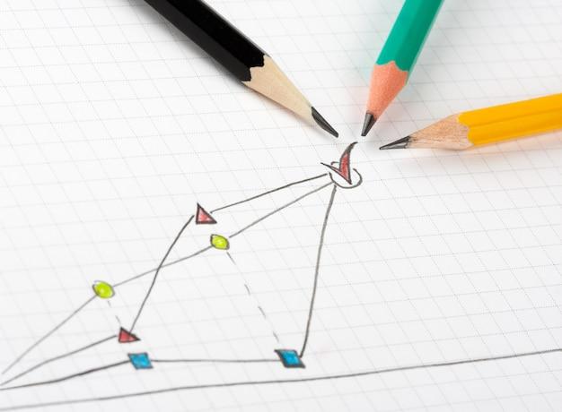 Bosquejo de éxito empresarial con tres lápices diferentes