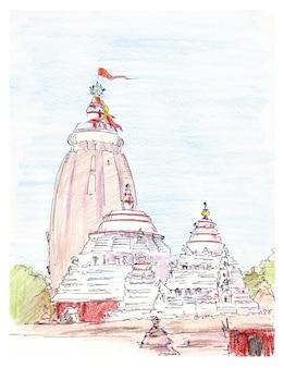 Bosquejo pintado a mano del templo indio jagannath