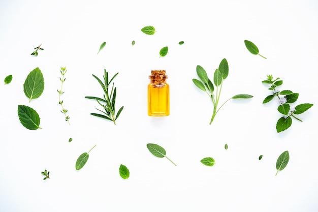 La botella de aceite esencial con la disposición fresca de las hierbas con endecha plana en la tabla de madera blanca.