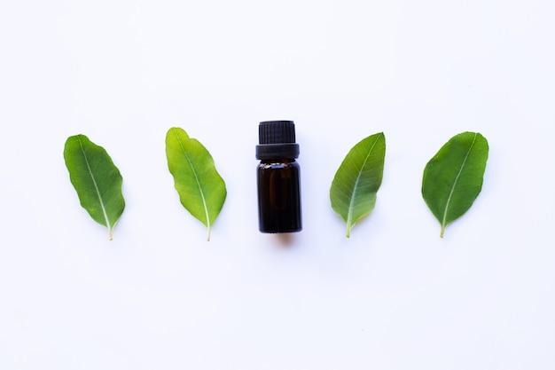 Botella de aceite de eucalipto con hojas de eucalipto en blanco