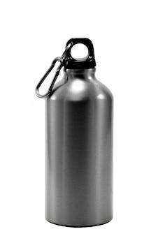 Botella de aluminio agua blanco aislado
