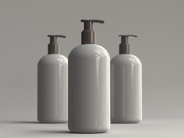 Botella de bomba renderizada en 3d sin etiqueta