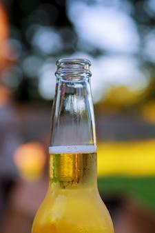 Botella de cerveza llena de naturaleza.
