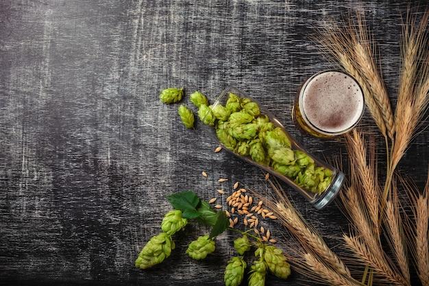 Una botella de cerveza con lúpulo verde, avena, espiguillas de trigo, abridor y vasos con cerveza oscura y clara.