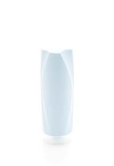 Botella de champú y botella de acondicionador en blanco