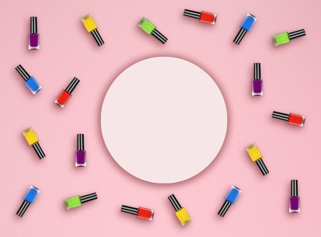 Botella de color plano con esmalte de uñas sobre fondo rosa. vista superior. lay flat
