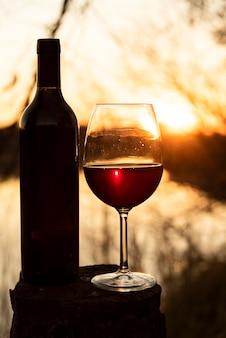 Botella y copa de vino con sol brillando en la espalda