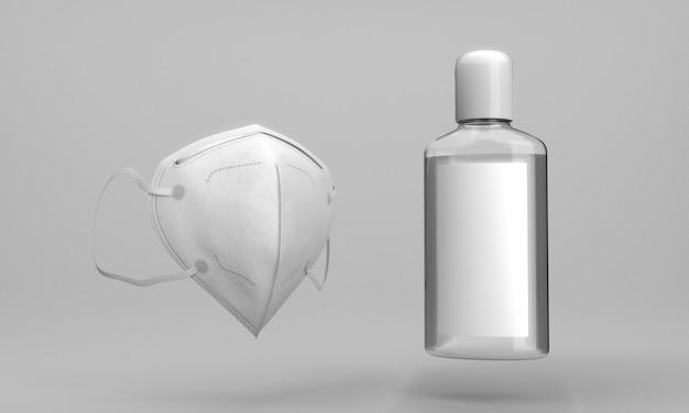 Botella de desinfectante de manos y mascarilla médica