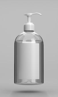 Botella de desinfectante de manos con sombras