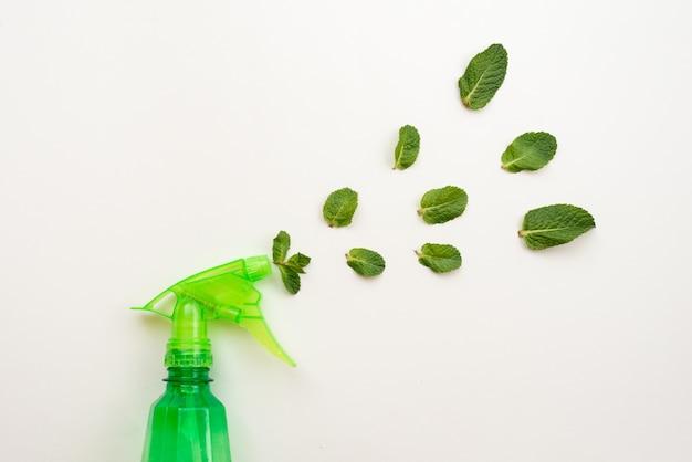 Botella de detergente verde rociar unas hojas de menta fresca