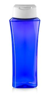 Botella de gel de ducha azul aislado en blanco