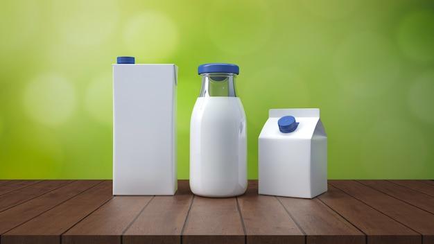 Botella de leche con la representación de la etiqueta 3d.