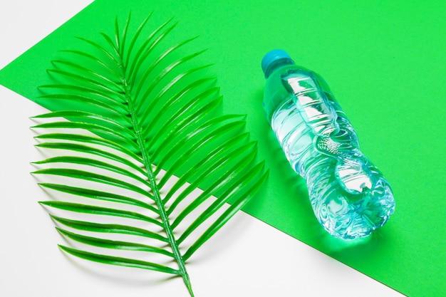 Botella de líquido transparente con hojas de palmeras tropicales, vista superior