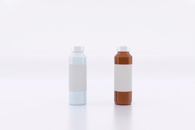 Botella de medicina maqueta con etiqueta blanca