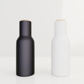 Botella negra para envasado en crema, loción sobre fondo blanco
