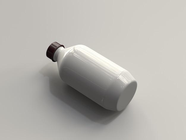 Botella plástica renderizada en 3d sin etiqueta