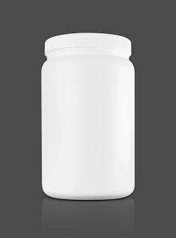 Botella de plástico blanco para un suplemento de proteína de suero