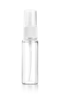 Botella de plástico transparente con spray bucal para maqueta de diseño de producto