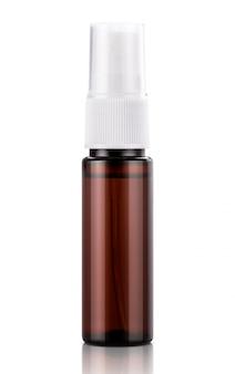 Botella de spray bucal transparente marrón para maqueta de diseño de producto