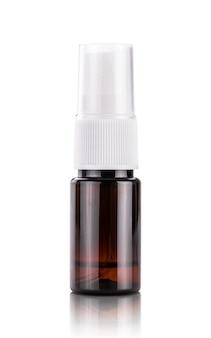 Botella de spray de plástico transparente marrón para maqueta de diseño de producto