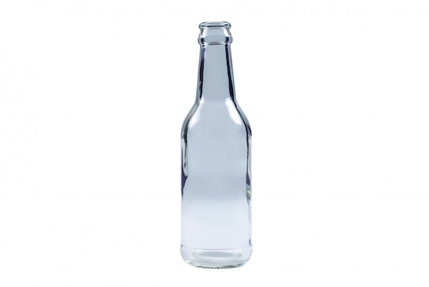 Botella de vidrio aislado sobre fondo blanco.