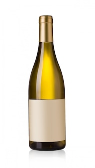 Botella de vino blanco con etiquetas en blanco
