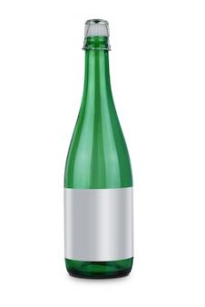 Botella de vino espumoso y tapón plástico de vino o vino de corcho aislado