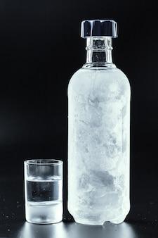 Botella de vodka frio