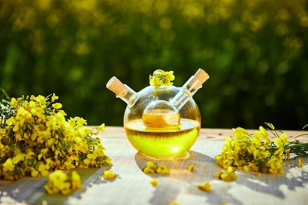 Botellas de aceite de colza (canola) en el campo de violación de fondo