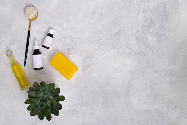 Botellas de aceites esenciales; algodón; jabón amarillo y planta de cactus sobre fondo de hormigón para escribir el texto
