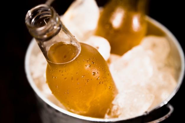 Botellas de cerveza con hielo