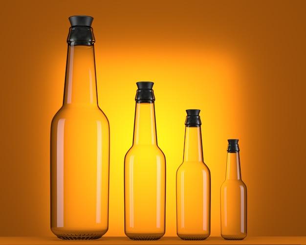 Botellas de cerveza vacías de diferentes tamaños.