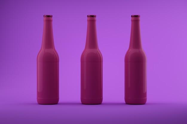 Botellas de color rosa con fondo violeta.