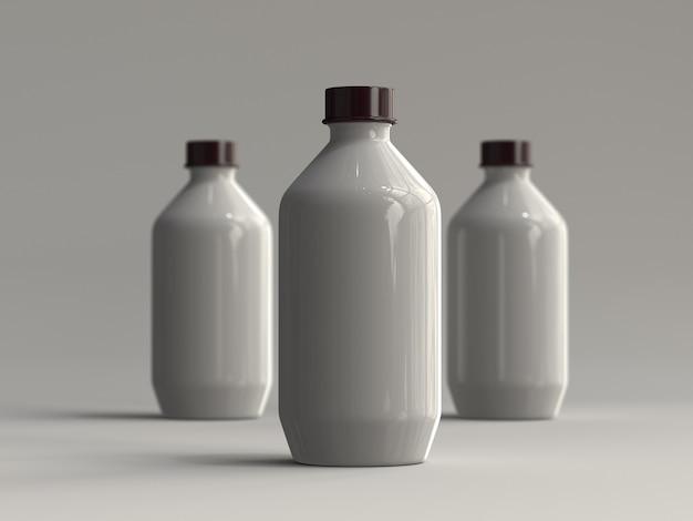 Botellas de plástico renderizadas en 3d sin etiqueta