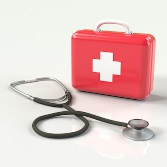 Botiquín de primeros auxilios con cruz y un estetoscopio