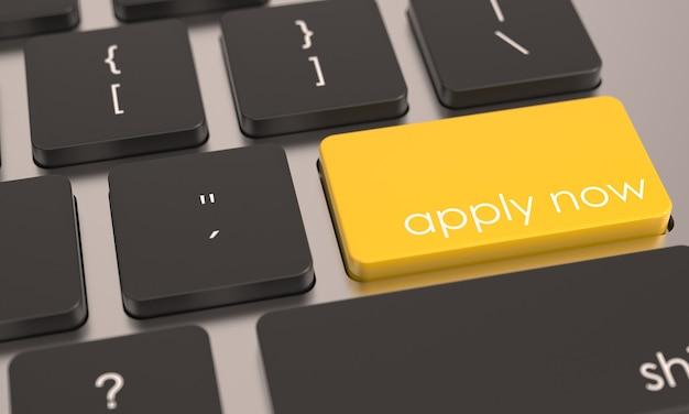 Botón amarillo aplicar ahora en el teclado de la computadora suscribirse al icono de registro o acceso negocios