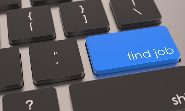 Botón azul buscar trabajo en el teclado de la computadora icono de trabajo o empleo concepto de oficina de negocios