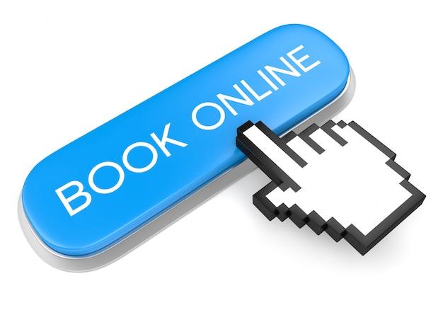 Botón azul reservar en línea y cursor de mano