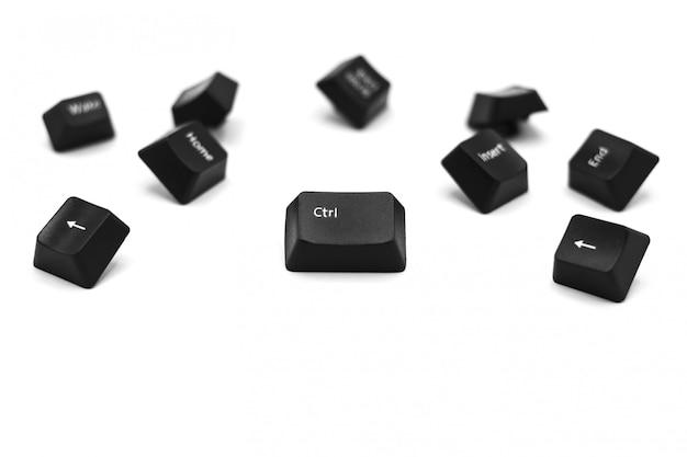 Botón de control del teclado de la computadora aislado sobre fondo blanco